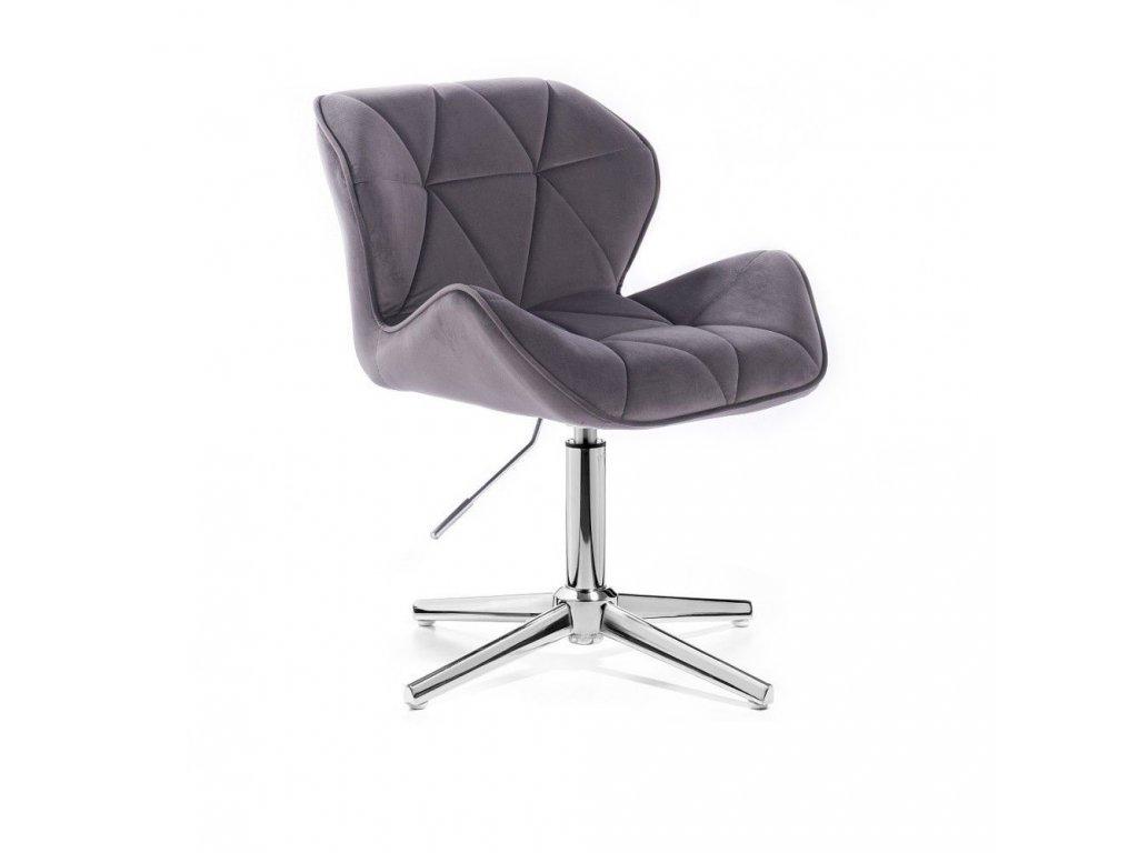 Velurová kosmetická židle MILANO na kříži - šedá