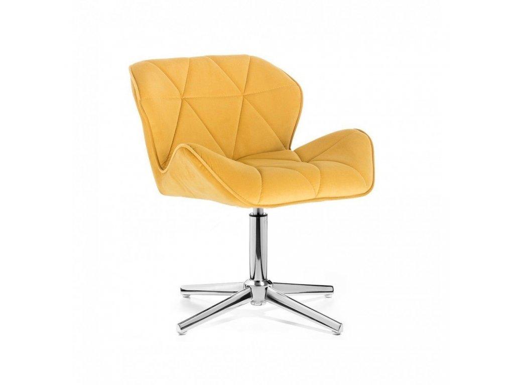 Velurová kosmetická židle MILANO na kříži - žlutá