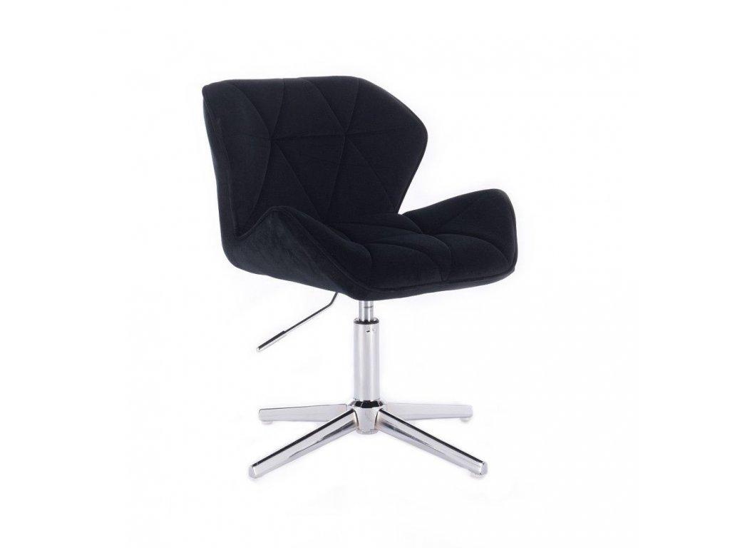 Velurová kosmetická židle MILANO na kříži - černá