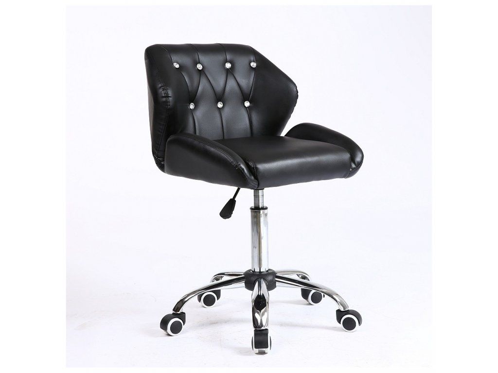 Pracovní / kosmetická židle PALERMO na kolečkové podstavě - černá