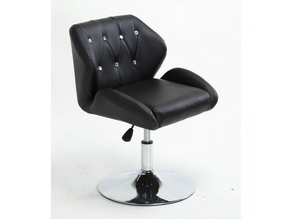 Pracovní / kosmetická židle PALERMO na kulaté podstavě - černá