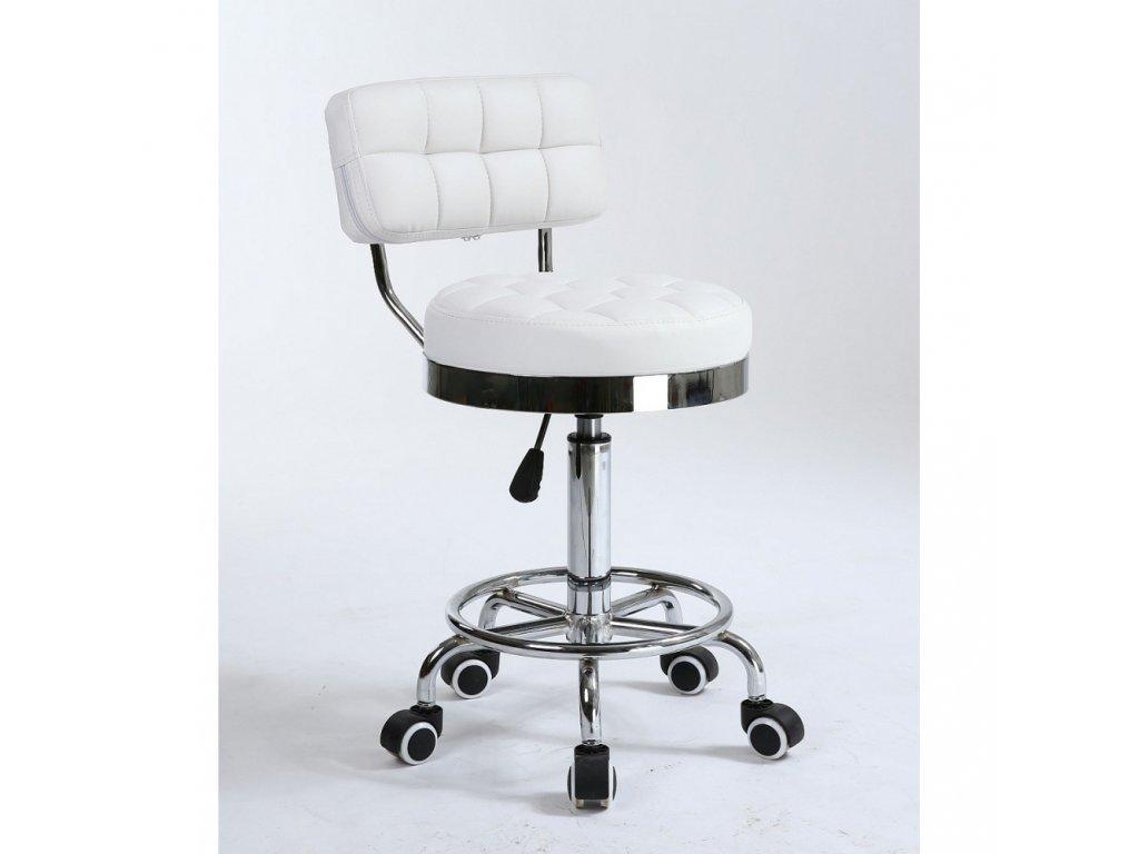 Pracovní židle / taburet LEON - bílá