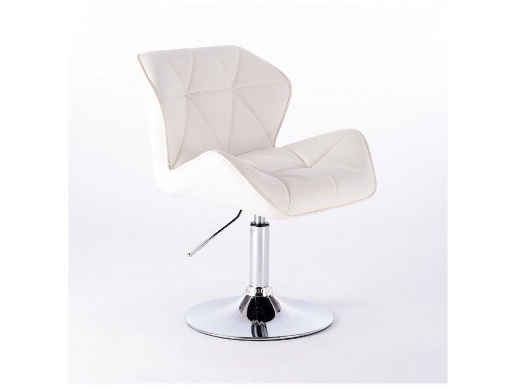 Kosmetická židle MILANO kulaté podstavě - bílá