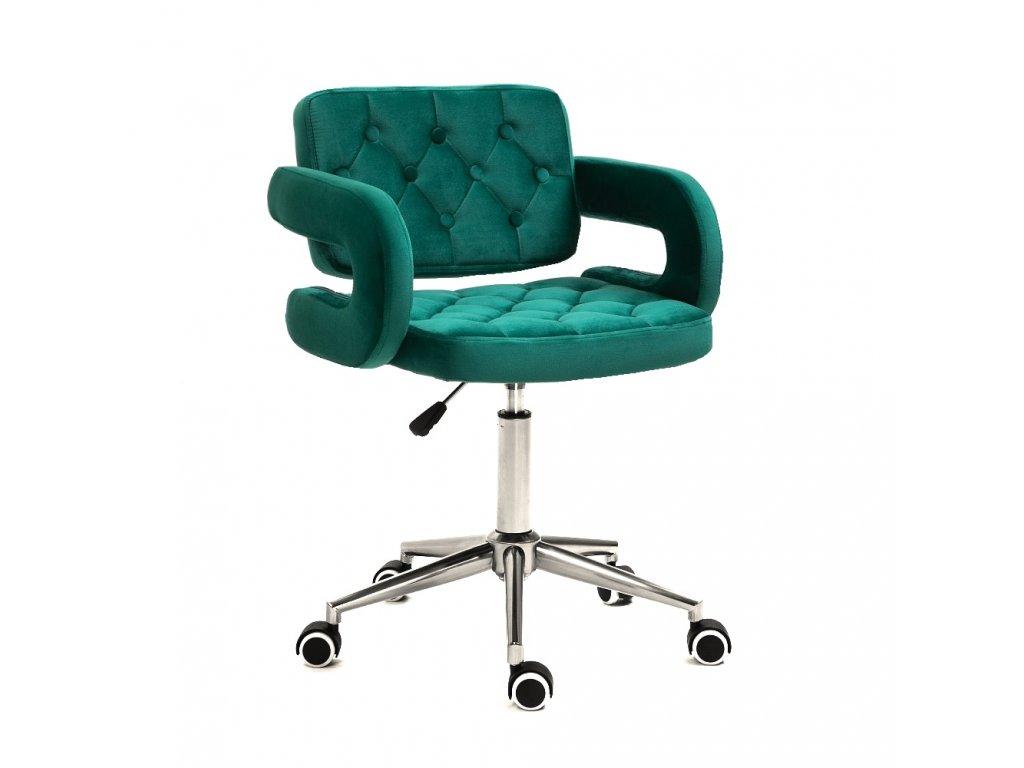 Židle na kolečkách Stockholm - zelený velur