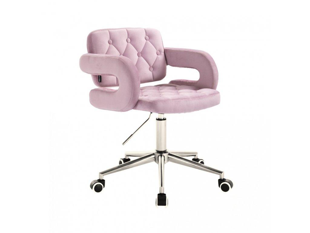 Židle na kolečkách Stockholm - světle fialový velur
