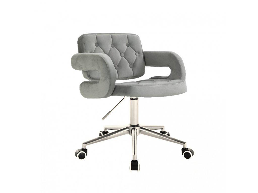 Židle na kolečkách Stockholm - ocelově šedý velur