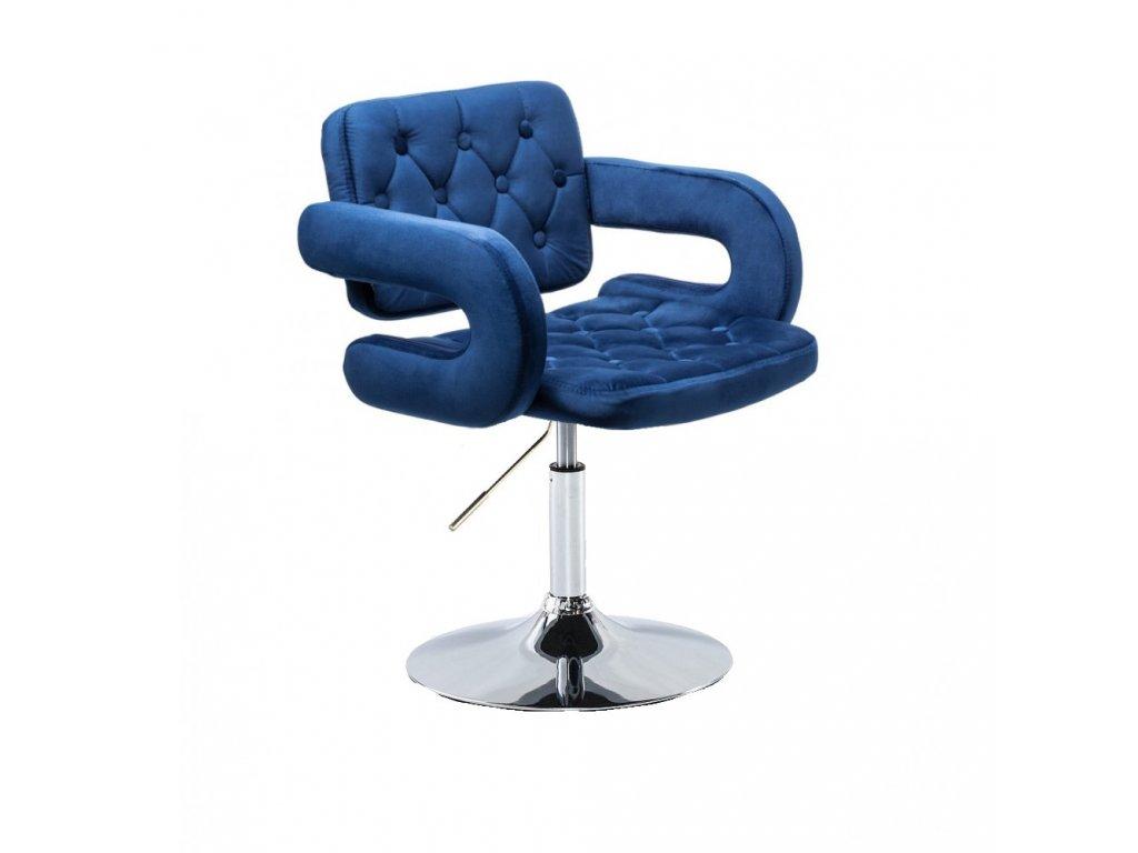 Židle na kulaté podstavě Stockholm - modrý velur