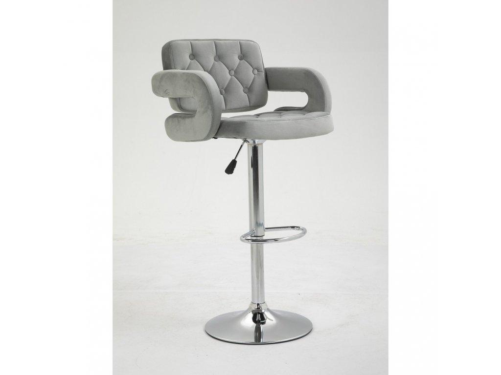 Barová židle Stockholm - ocelově šedý velur