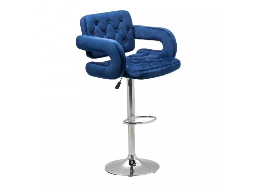 Barová židle Stockholm - modrý velur