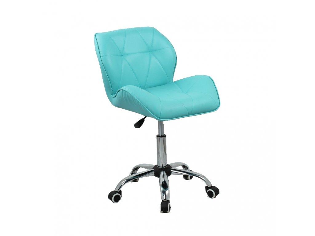Kosmetická židle MILANO na základní podstavě s kolečky - tyrkysová