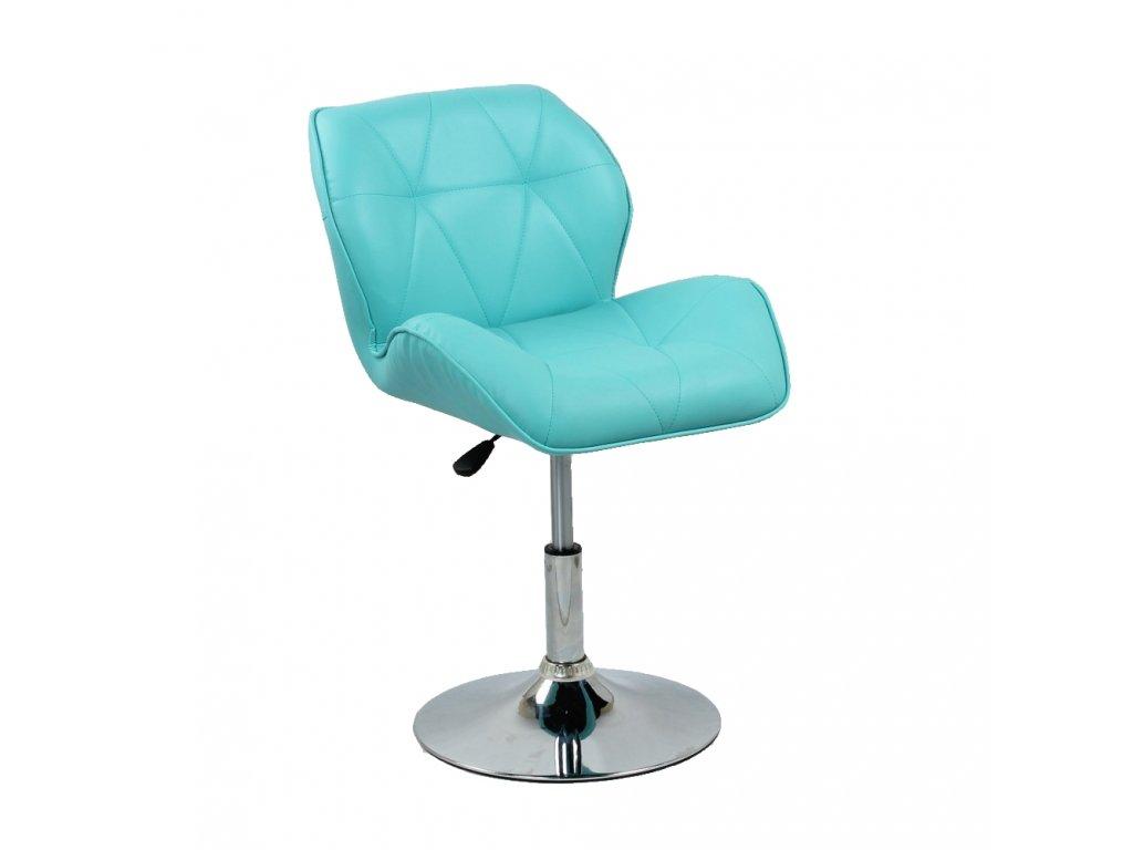 Kosmetická židle MILANO kulaté podstavě - tyrkysová