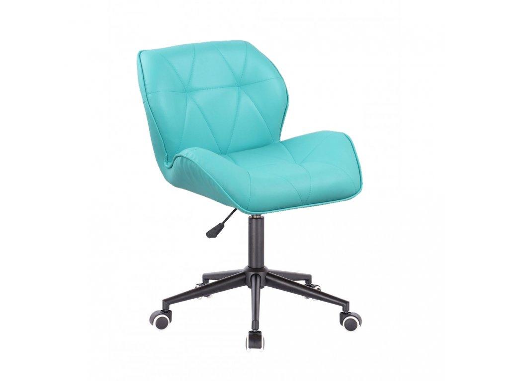 Kosmetická židle MILANO na černé podstavě s kolečky - tyrkysová