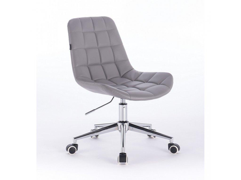 Židle PARIS na stříbrné podstavě s kolečky - šedá