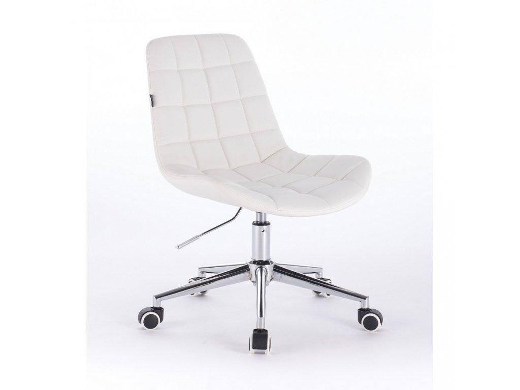 Židle PARIS na stříbrné podstavě s kolečky - bílá