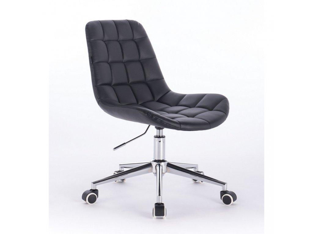 Židle PARIS na stříbrné podstavě s kolečky - černá