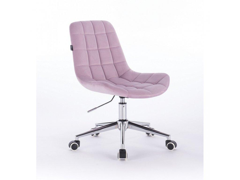 Velurová židle PARIS na stříbrné podstavě s kolečky - vřesová