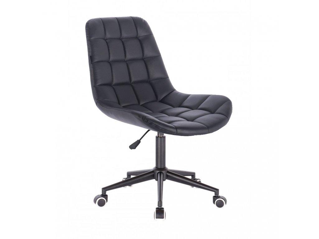 Židle PARIS na černé podstavě s kolečky - eko kůže - černá