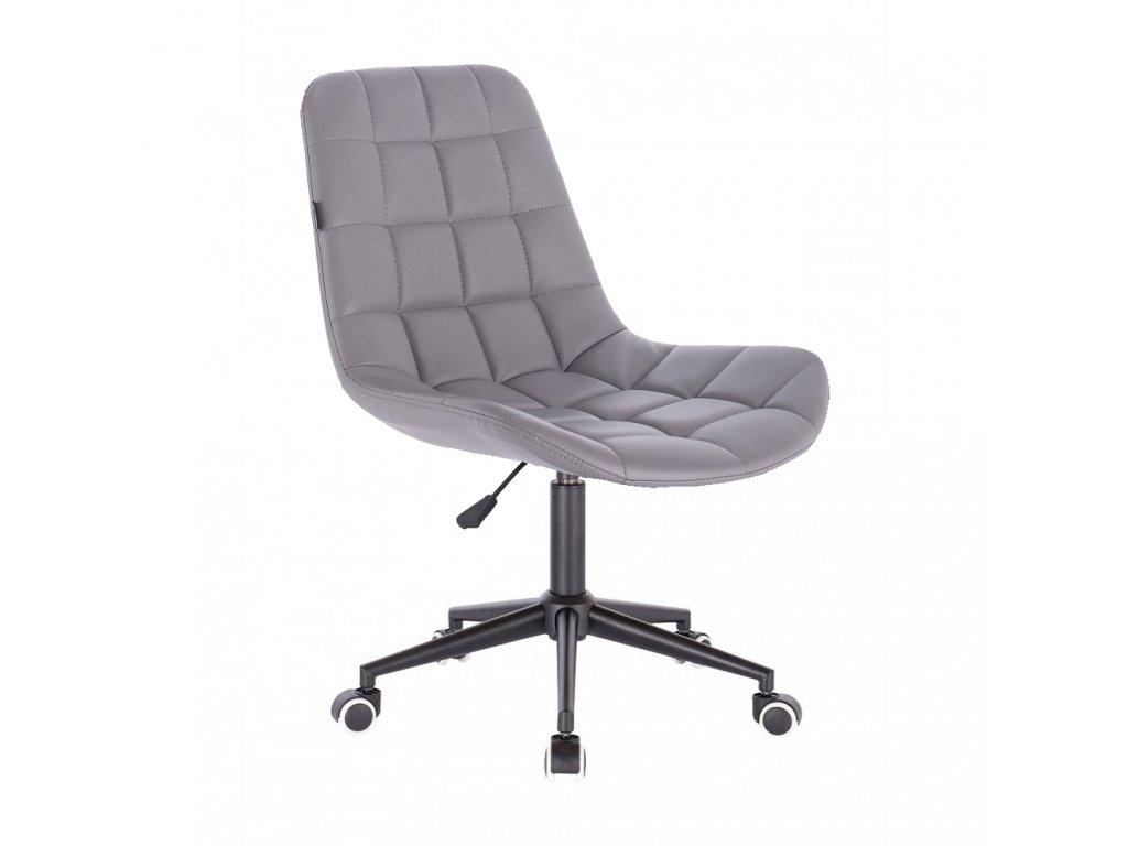 Židle PARIS na černé podstavě s kolečky - eko kůže - šedá