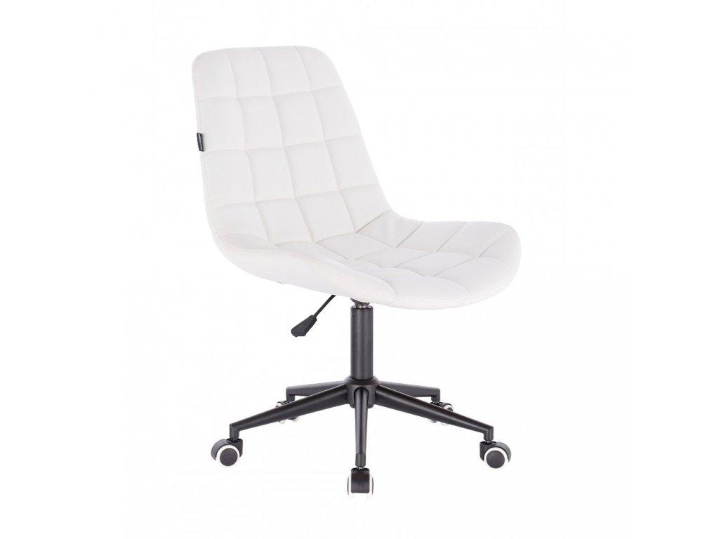 Židle PARIS na černé podstavě s kolečky - eko kůže - bílá