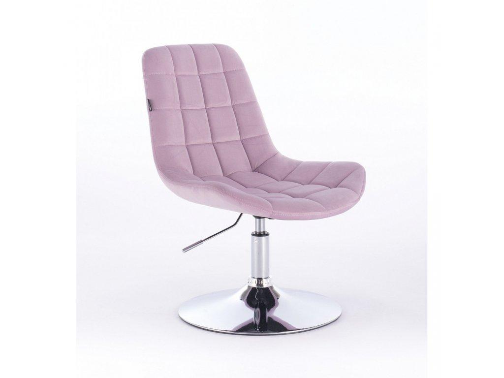 Velurová kosmetická židle PARIS na kulaté podstavě - vřesová