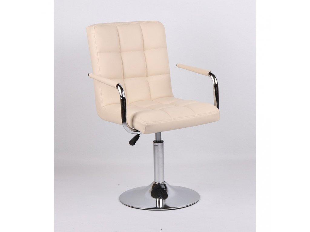 Kosmetická židle VERONA na kulaté podstavě - krémová