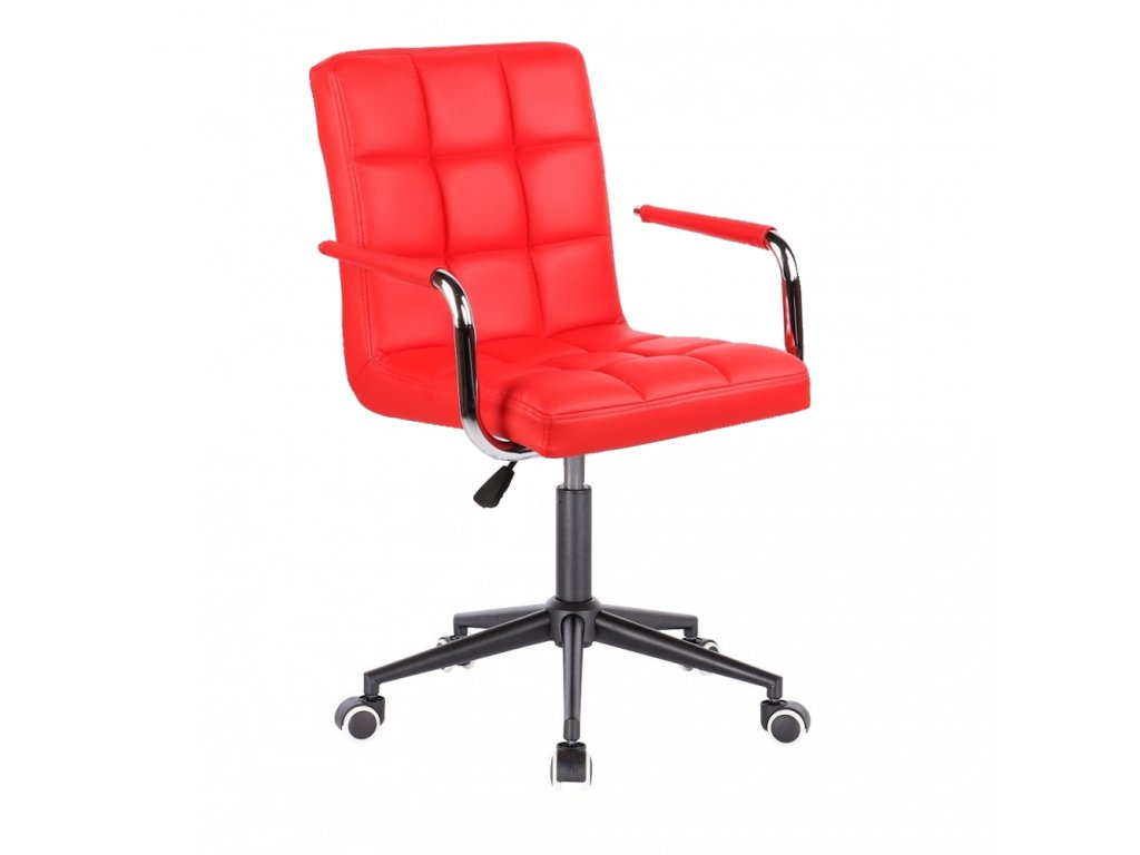 Židle na černé kolečkové podstavě VERONA - červená