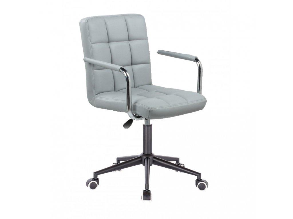 Židle na černé kolečkové podstavě VERONA - šedá