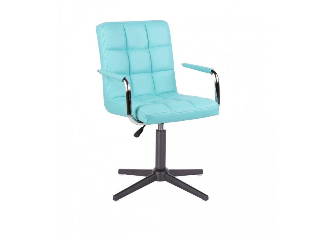 Židle VERONA na černé křížové podstavě - tyrkysová