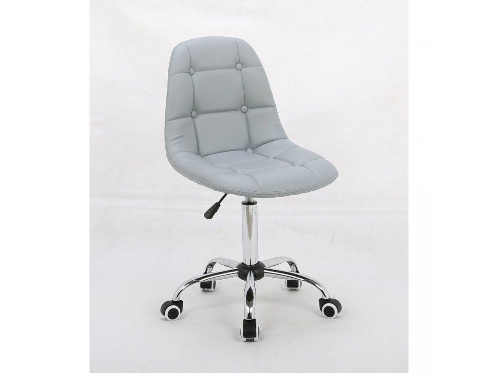 Židle na chromované podstavě s kolečky LAGOS - šedá