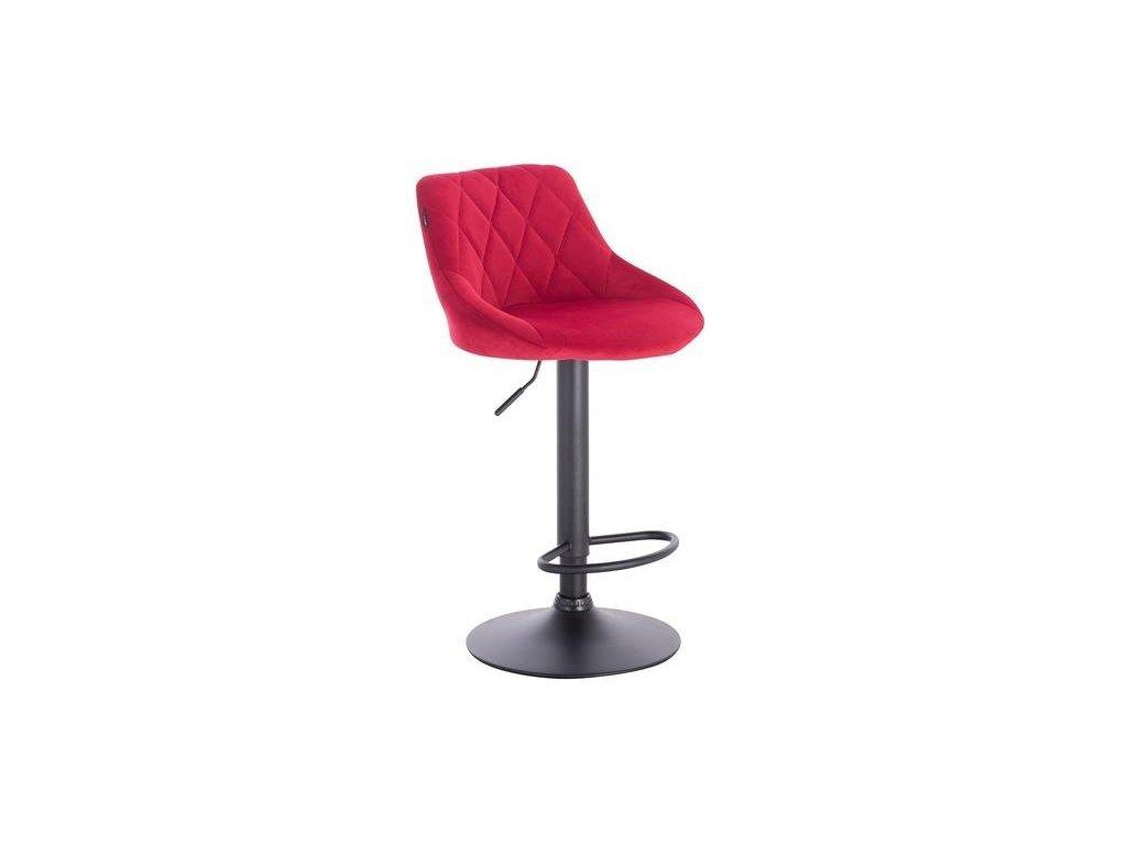 Barová židle SALVADOR - červená na černé podstavě