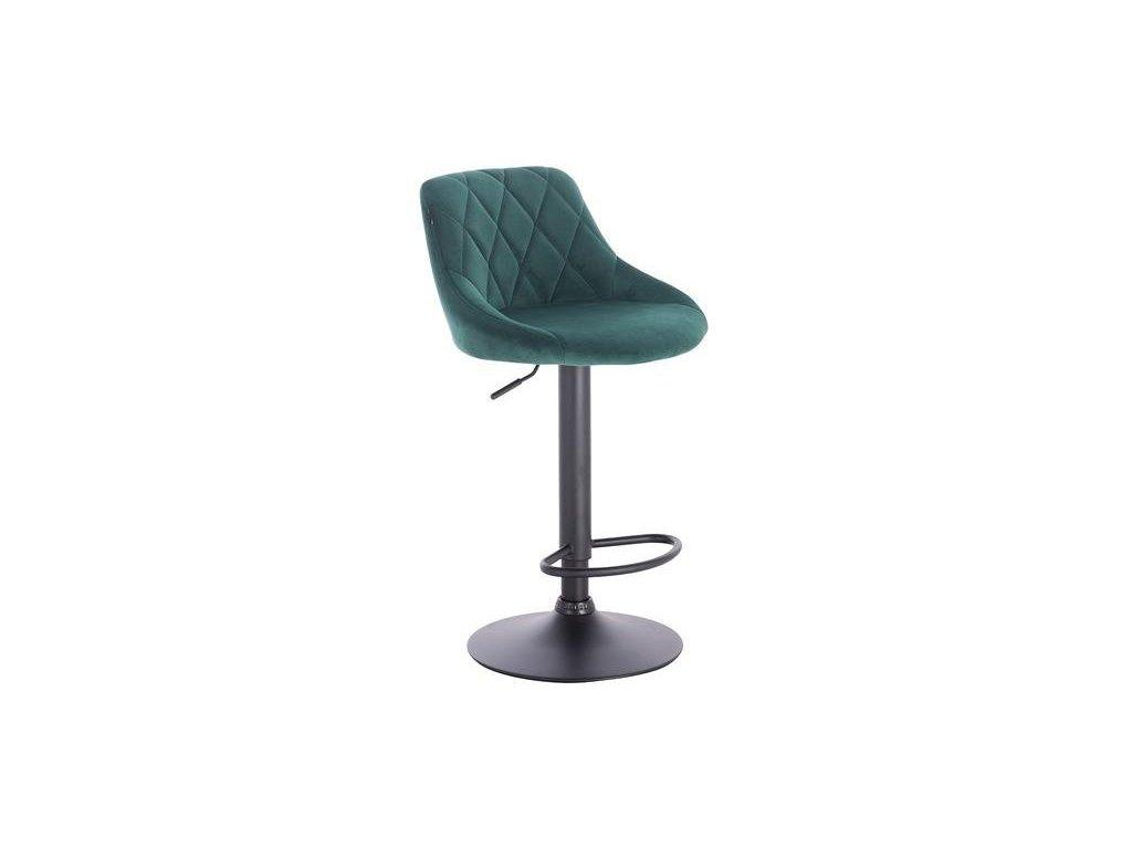 Barová židle SALVADOR - zelená na černé podstavě