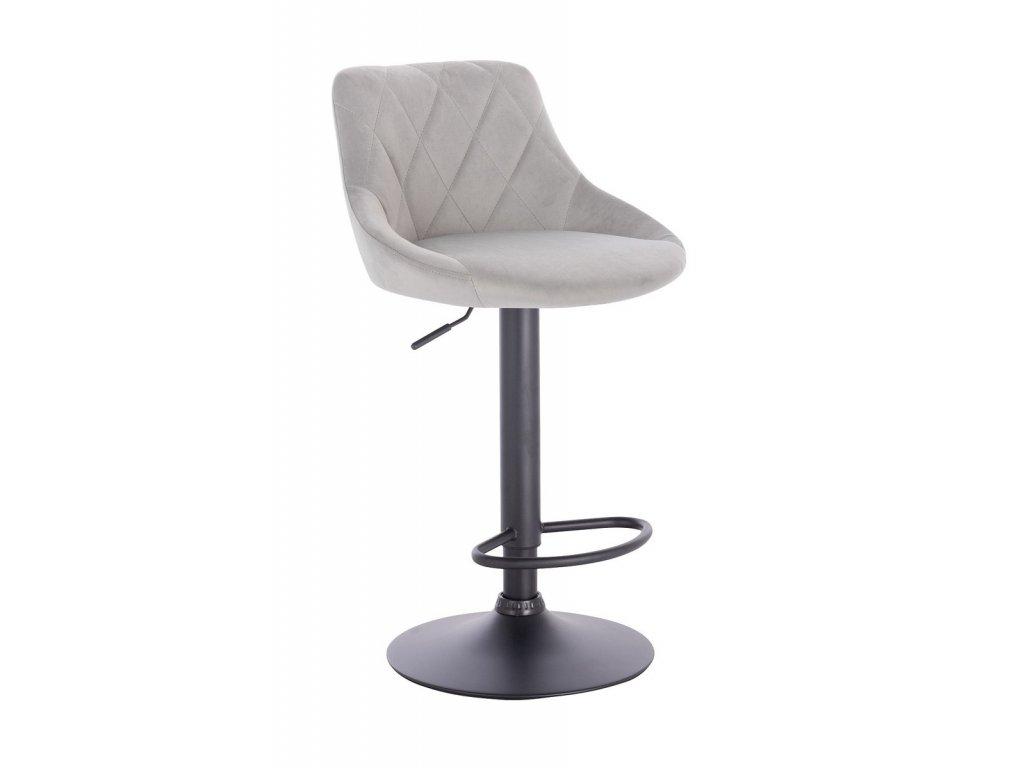 Barová židle SALVADOR - světle šedá na černé podstavě