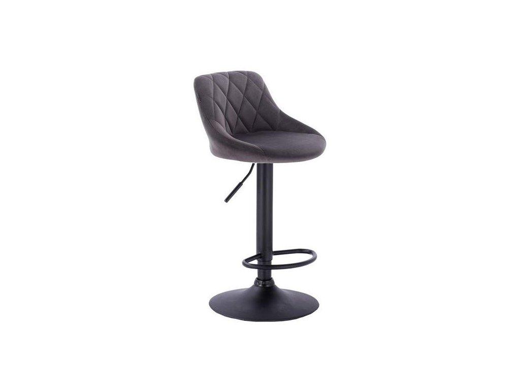 Barová židle SALVADOR - šedá na černé podstavě