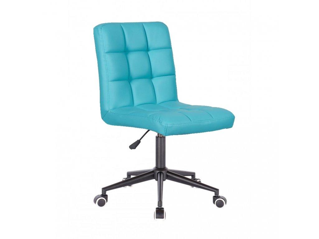 Židle TOLEDO na černé kolečkové podstavě - tyrkysová