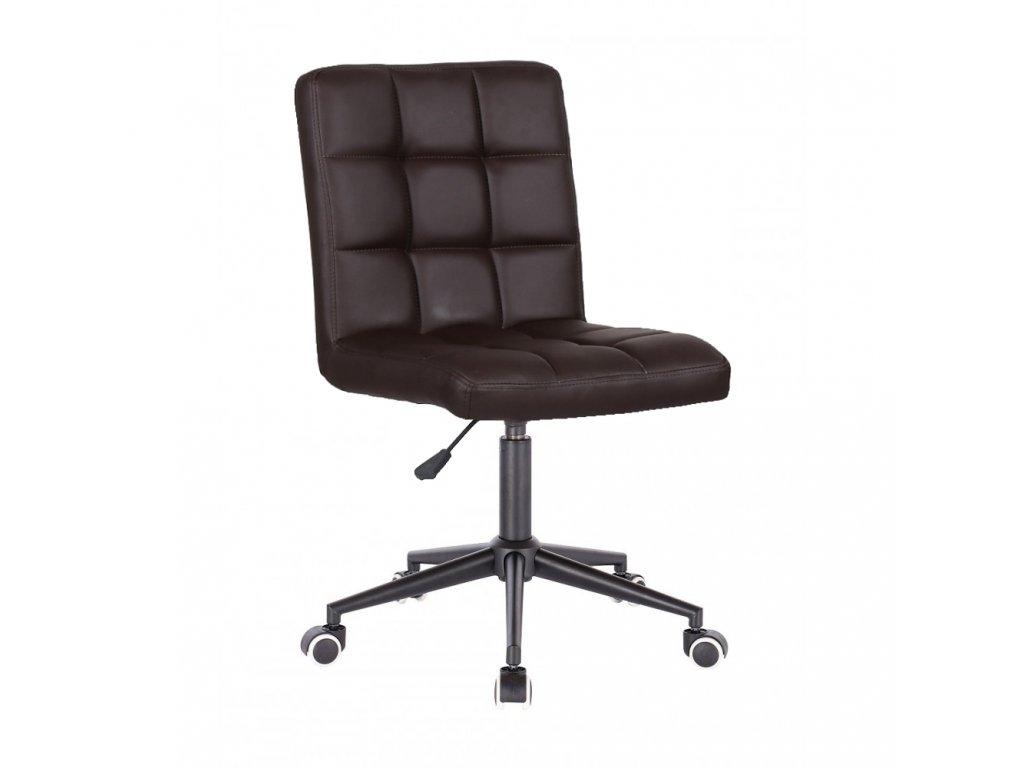 Židle TOLEDO na černé kolečkové podstavě - hnědá