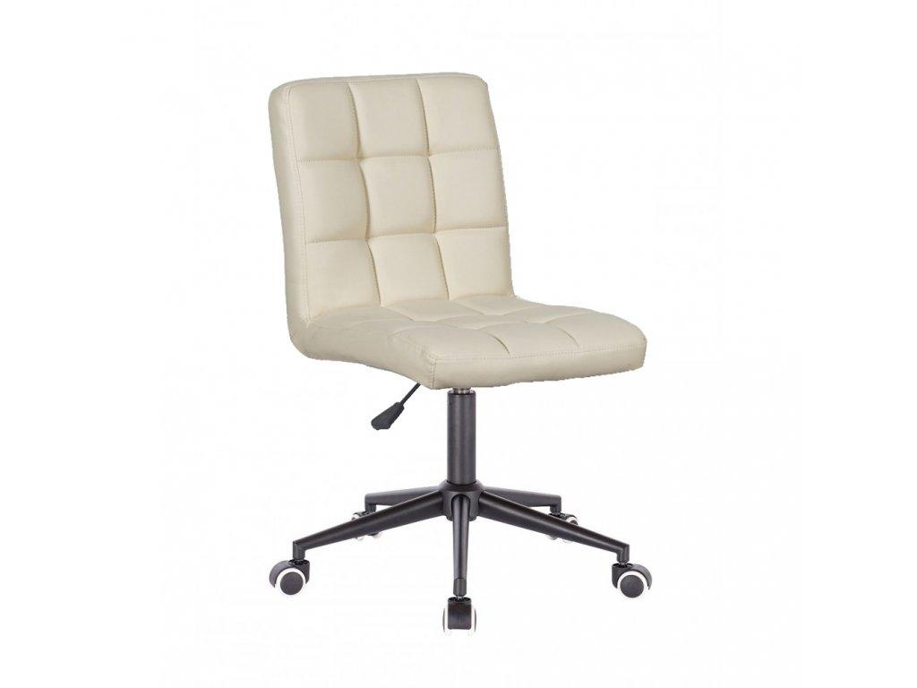 Židle TOLEDO na černé kolečkové podstavě - krémová