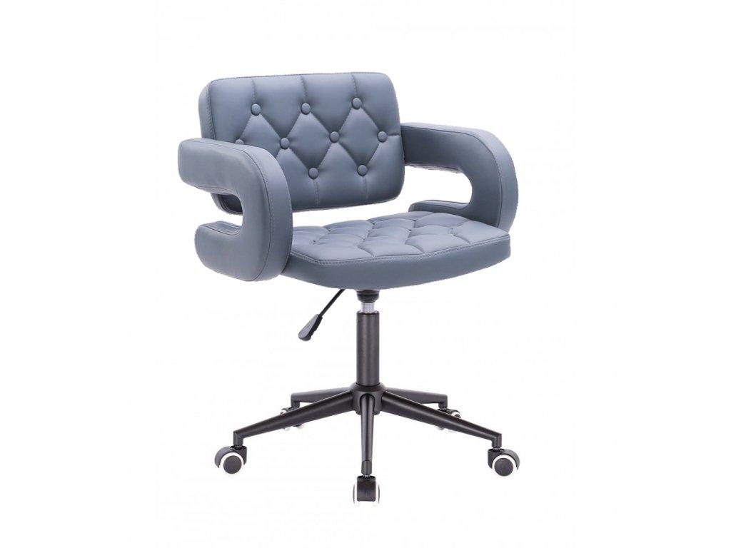 Židle Stockholm na černé kolečkové podstavě - šedá