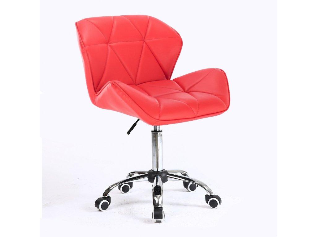 Kosmetická židle MILANO na základní podstavě s kolečky - červená