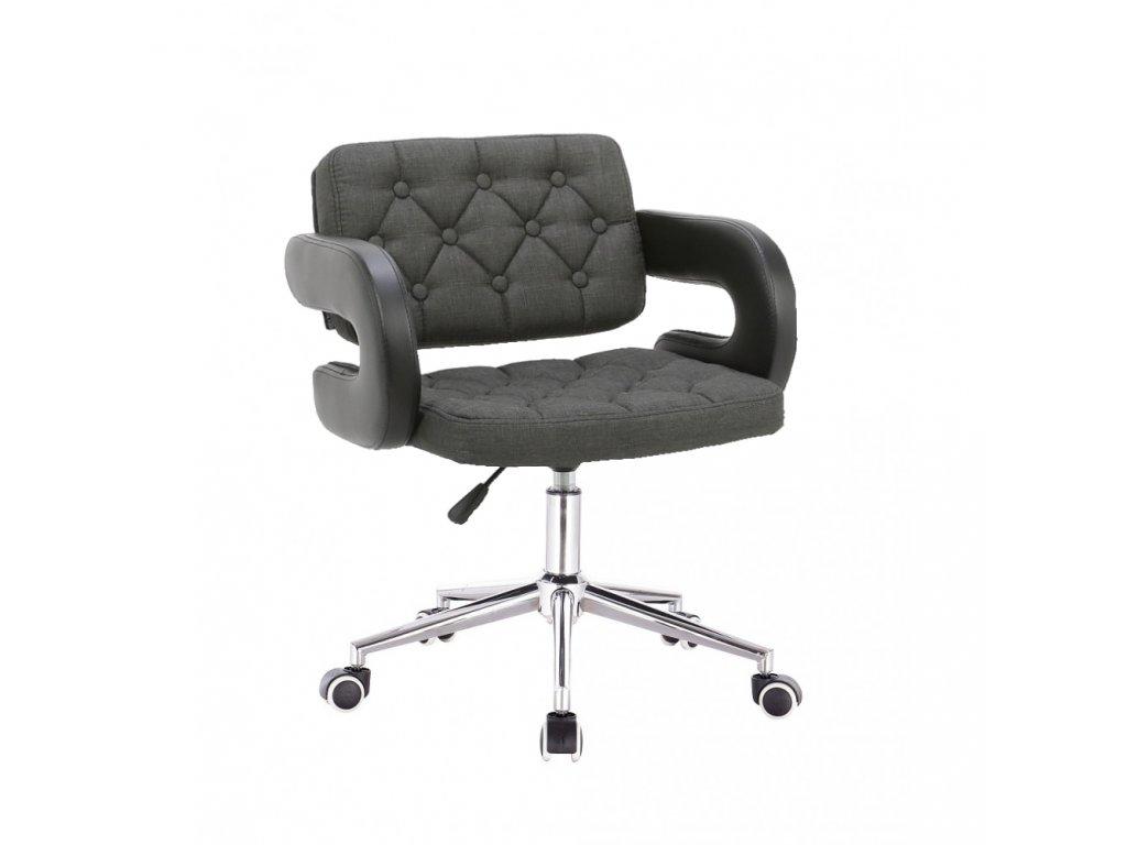 Židle Stockholm na stříbrné kolečkové podstavě - grafitová / černá
