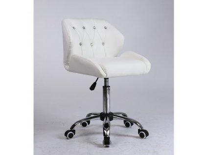 Pracovní / kosmetická židle PALERMO na kolečkové podstavě - bílá