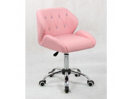 Pracovní / kosmetická židle PALERMO na kolečkové podstavě - růžová