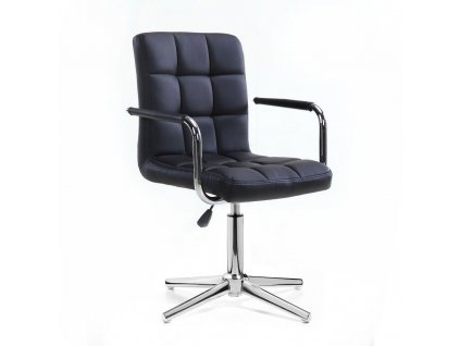 Kosmetická židle VERONA na stříbrné křížové podstavě - černá