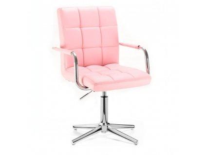 Kosmetická židle VERONA na stříbrné křížové podstavě - růžová