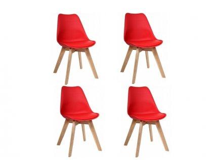 Jídelní židle PORTO - červená - sada 4 ks
