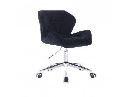 Velurová kosmetická židle MILANO na kolečkách - černá