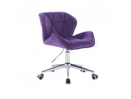 Velurová kosmetická židle MILANO na kolečkách - fialová