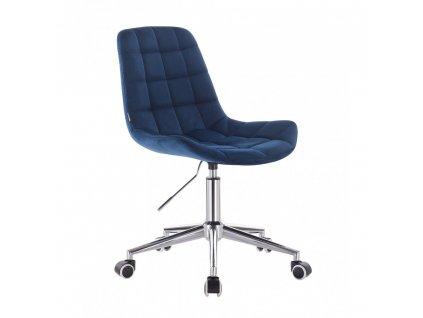 Velurová židle PARIS na stříbrné podstavě s kolečky - královská modrá
