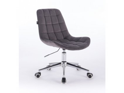 Velurová židle PARIS na stříbrné podstavě s kolečky - grafitově šedá