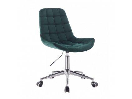 Velurová židle PARIS na stříbrné podstavě s kolečky - lahvově zelená