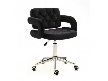 Židle na kolečkách Stockholm - černý velur